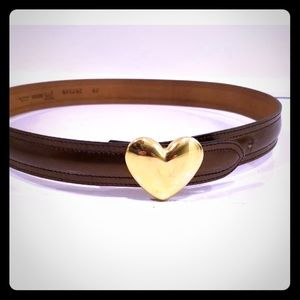 MOSCHINO belt with gold heart buckle